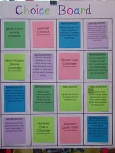 Choice Board for enrichment and early finishers...color coded by subject or skill...change choices often (In this example, lime green choices are MATH activities, dark green choices are WRITING activities, blue choices are READING activities, violet choices are SPELLING activities, and pink are  CHALLENGE activities. )