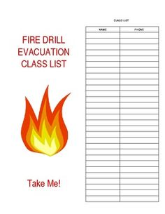 Fire drill log for daycare