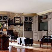 wine racks rock wall, living rooms, river rocks, fireplac, dream, cabinetri idea, wine rack, thomasvill cabinetri, front room