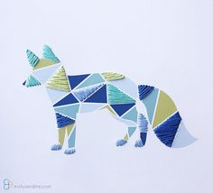 Paper Embroidered Geometric Fox - 8.5x11in Print - yellow and blue - Embroidery Art