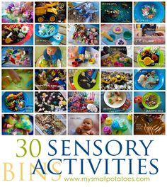 30 Sensory Bin Activities for Kids...A Small Potatoes Sensory Round-Up! via www.mysmallpotatoes.com