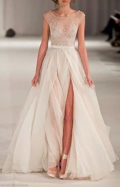 white sheer gown