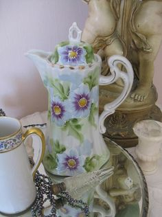 CHIC Antique Hand Painted Floral Nippon Porcelain Chocolate Pot Pitcher