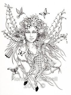 Fairy of the Forest - Fairy Tangles Coloring Sheet Fairies Owls Deer Digi Coloring Page by Norma J Burnell 8x10 Coloring Sheet