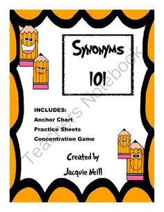 Synonyms 101 from JacquieNeill on TeachersNotebook.com -  (11 pages)  - Fun Synonym Introduction and Practice
