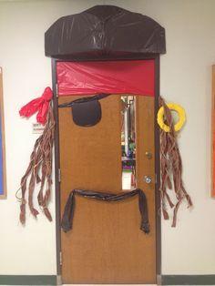 Pirate door with a Jack Sparrow twist | Classroom theme | Classroom decor | Classroom door ideas