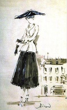 Christian Dior illustration by Christian Berard for French Vogue, 1947. @Christine Ballisty Ballisty Martinez