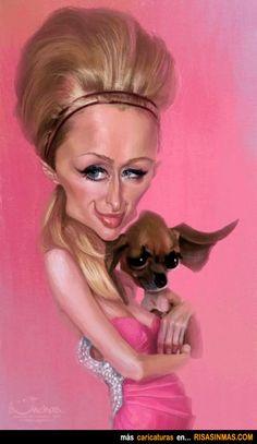Caricatura de Paris Hilton.