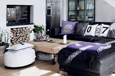 blue velvet, decor, coffee tables, living rooms, purple, wood storage, black white, live room, bohemian