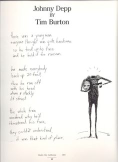 Published in Double Exposure, Take Three, by Roddy McDowell. Credits ~ Poem & Drawing by Tim Burton
