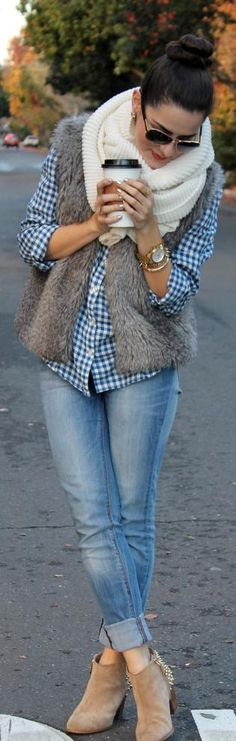 Casual Look; Light Skinnies, Knit Infinity Scarf, Gingham, Faux Fur Vest, Gold Accessories.