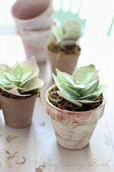 Craftberry Bush: Paper succulent tutorial idea, crafti, stuff, diy paper bushes, papers, craftberri bush, diy paper plants, flower, paper succulents