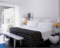 Black, White, and Yellow Bedroom