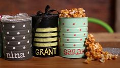 Personalized Gift, inexpensive and easy to make! These are perfect as party favors or for teachers' gifts. Get the homemade caramel popcorn recipe; so much better than store-bought! Click Here: http://blog.hgtv.com/design/2012/10/30/weekday-crafternoon-easy-handmade-gifts-for-a-group/?soc=pinterest