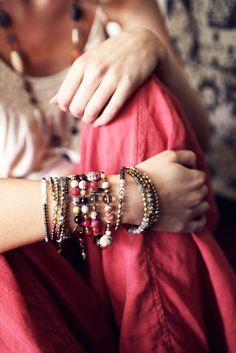 Mixed gemstone wrap bracelet.