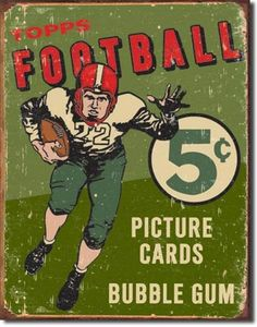 old topps non sports cards | Details about Vintage Topps Football Cards Ad Tin Sign Sports Bar