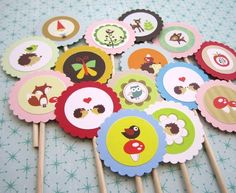 cupcak topper, cupcake decorations, woodland creatur, cupcak decor, cupcake toppers