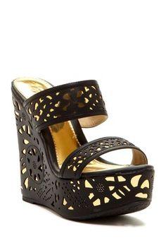 Elegant Footwear Puntie Double Strap Wedge Sandal