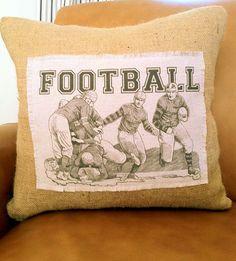 Football Players Burlap 18x18  Decorative Pillow Cover, Throw Pillow ,Toss Pillow, Accent Pillow