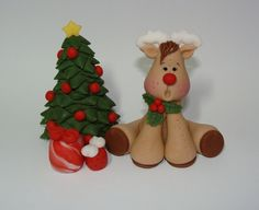 Edible Fondant Cake Toppers - Reindeer, Christmas Tree, Presents