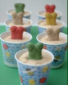 Pamper your puppy with a homemade dog treat! They love these frozen peanut butter and banana dog pops! Love your animals :)