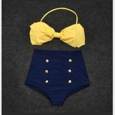 Yellow bow high waisted bikini. I NEED!!