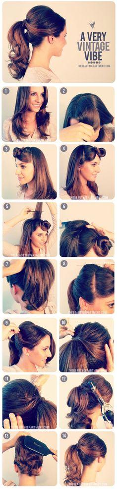 vintag ponytail, poni, hair tutorials, vintage hairstyles, bridesmaid hair, long hair, pony tails, vintage inspired, vintage style