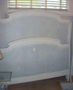Antique Cane Full Bed Headboard Foot-board Side Rails.