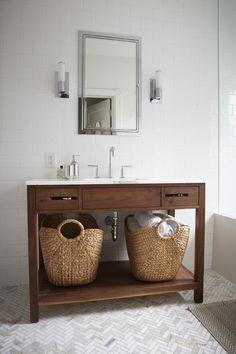 vaniti, simpl bathroom, simple bathroom, herringbone tile, floors, herringbon floor, basket, bathrooms, bathroom idea
