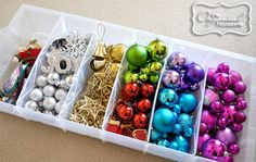 Use an under bed shoe storage box to store the Christmas decorations.