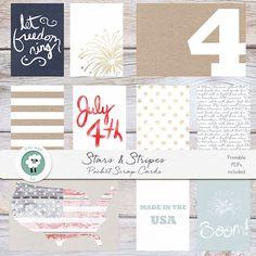 NEW!  Little Lamm  Co, Digital, Stars and Stripes Pocket Scrap Cards