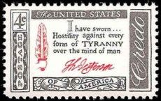 Thomas Jefferson Credo US Postage Stamp