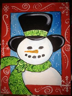 Customized snowman painting by ginnsart on Etsy, $55.00