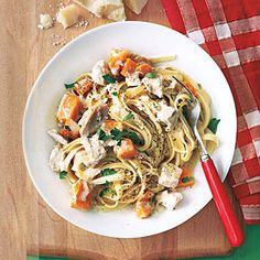 Fettuccine with Chicken and Squash | MyRecipes.com