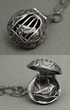 "Pendant | Rebecca Fargher. ""Bird in a cage"". Oxidized sterling silver"