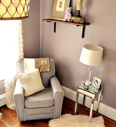 Glamorous Purple and Gray Nursery side table nest to glider for mommy things