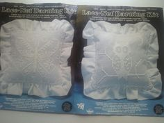 Lace Net Darning Kit Set of Two Designs Owl and Butterfly Needlepoint Craft