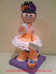 Fofucha gitana con traje naranja encargada para Marta/Fofucha doll in orange andalusian dress specially made for Marta