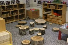 Tree stumps in the Block Area at the Laboratory Preschool at Pierpont Community and Technical College in Fairmont, West Virginia - a Reggio-inspired ECE program.