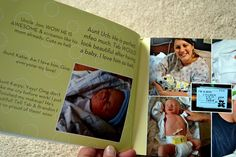 They took all of the text messages they got the day the baby was born and put them into a photo book.... FUN IDEA!!