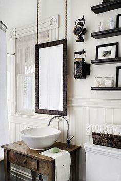 bathroom mirrors, vaniti, rustic table, rustic bathrooms, sink, shelv, vintage bathrooms, hang mirror, guest bathrooms