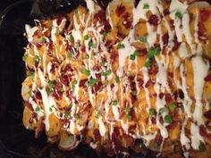 Loaded roasted potatoes. Preheat oven to 450. Slice potatoes about 1/4 inch thick and place in bottom of a casserole dish. Make sure potatoes are in one layer. Season potatoes with salt, pepper and drizzle olive oil over them. Bake at 450 for 20 minutes. Sprinkle desired amount of cheese and bacon bits over cooked potatoes. Turn heat down to 350 to melt cheese for about 10 minutes. Garnish with green onions/chives and sour cream/ranch.