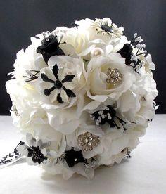 Black and White Vintage Brooch Bridal Bouquet via Etsy