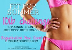10 pound challenge for June - everything you need to lose 10lb in one month, or simply kick-start eating healthy and getting fit. Automatically entered to win huge cash prizes and giveaways by signing up. I'm SO IN!