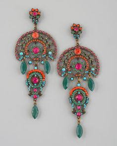 ♥ #bohemian ☮ #gypsy ☮ #hippie style ~ Aldazabal Multicolor Drop Earrings