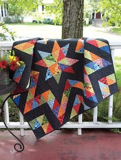 black background quilt all half square triangles