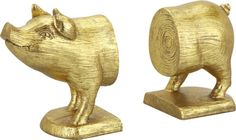 gift, bookends, gold pig, pigs, bookend set, pig bookend, cb2 xmaspres, apart, fashionable office decor