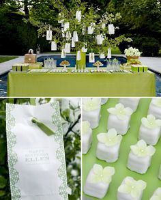 Green theme shower table