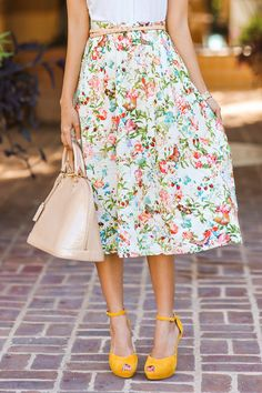 {Florals and bright shoes.}