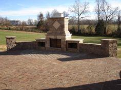 Paver Patio Walls Steps & Fireplace